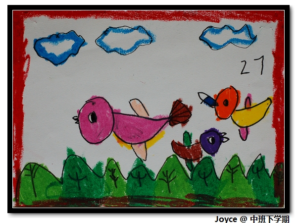 水粉儿童游泳画